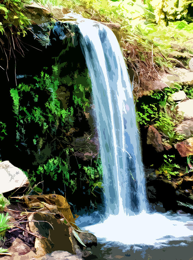 Tropical Waterfall And Pond Digital Art By Phill Petrovic