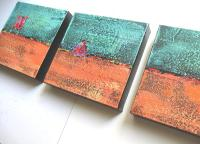 Turquoise And Orange Triptych Painting by Brooke Baxter Howie