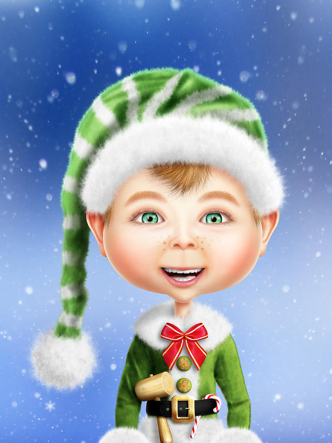Whimsical Christmas Elf Digital Art By Bill Fleming