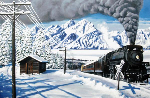 Winter Crossing Painting by Dwayne Davis