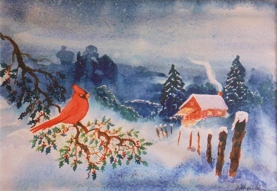 Winter Red Bird Painting By Aileen Markowski
