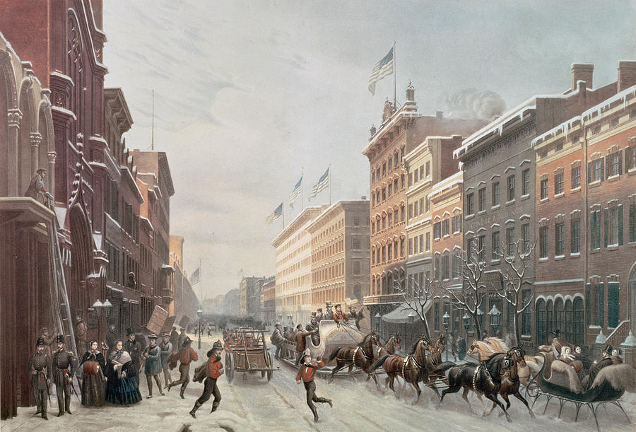 Winter Scene On Broadway Painting by American School
