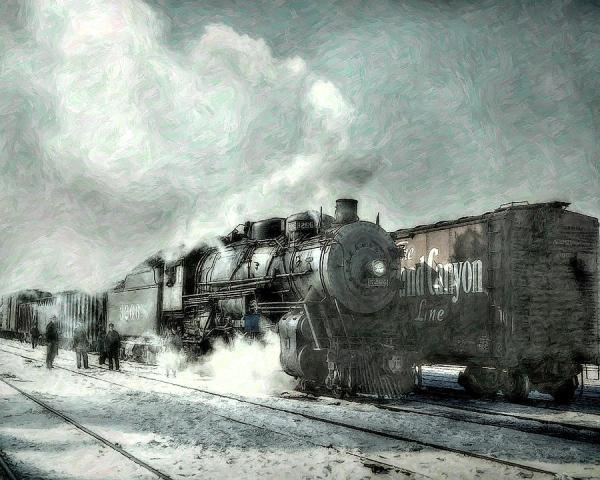 Winter Steam Train by Randy Steele