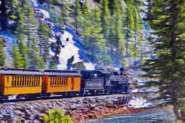 Winter Train Painting by Jeffrey Kolker