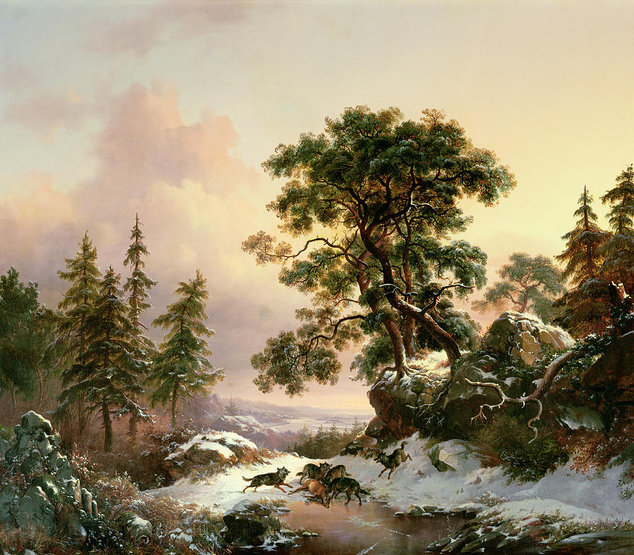 Wolves In A Winter Landscape Painting by Frederick