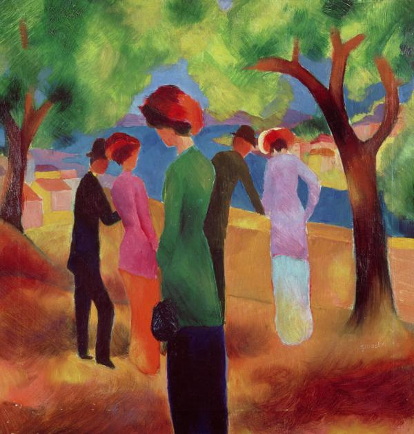 Woman in a Green Jacket August Macke