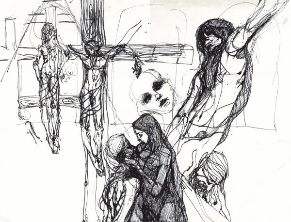 Stations Of The Cross Study Drawings by Jessica Lynn Stuart