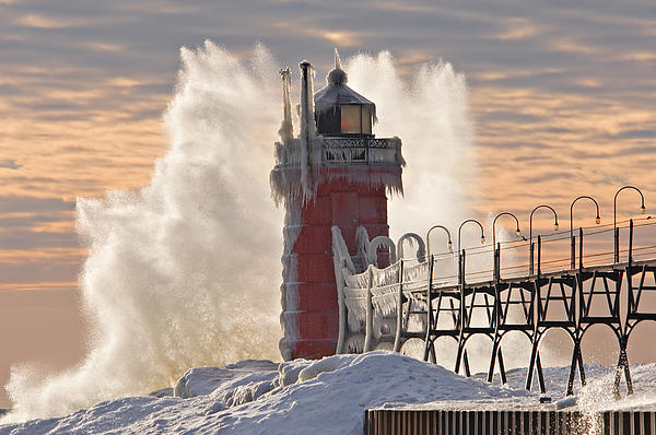Winter South Haven Lighthouse by Dean Pennala