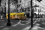Featured - San Francisco Vintage Streetcar on Market Street - 5D19798 - Black and White and Yellow by Wingsdomain Art and Photography