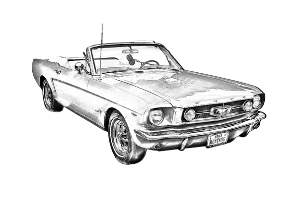 1965 Red Ford Mustang Convertible Drawing Women's T-Shirt