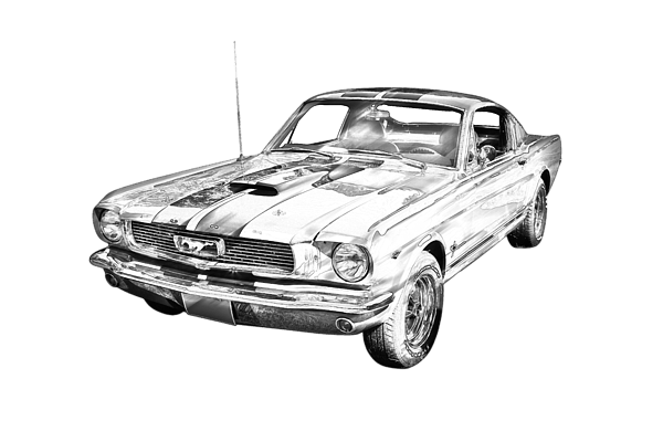1966 Ford Mustang Fastback Illustration T-Shirt for Sale