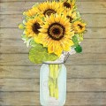 Rustic country sunflowers in mason jar shower curtain
