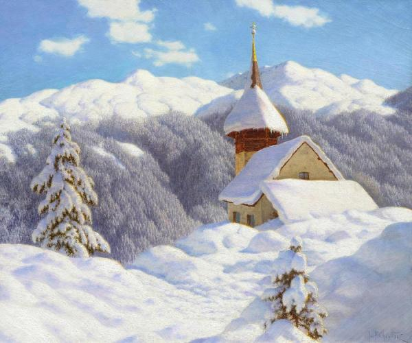 snowy winter landscape with small