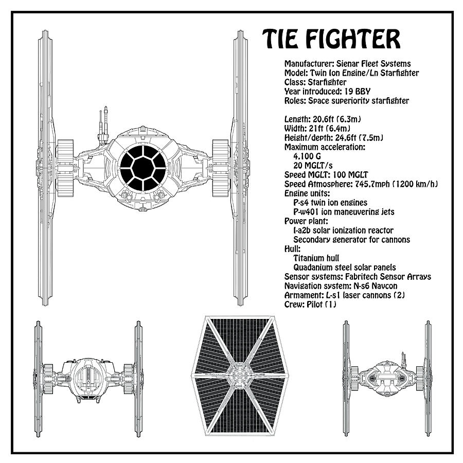medium resolution of star wars digital art diagram illustration for the tie fighter from star wars with technical