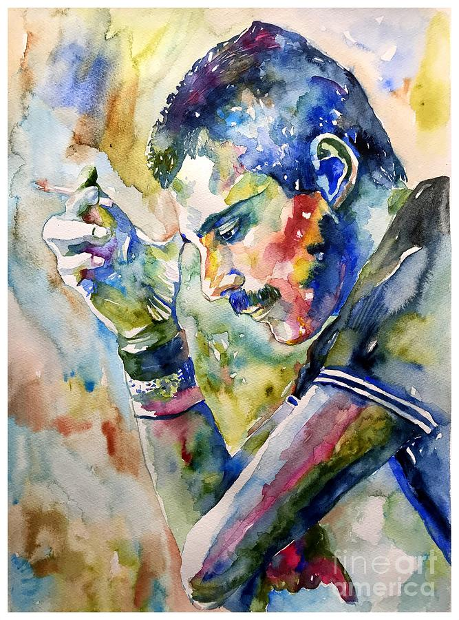 Freddie Mercury Watercolor Painting By Suzanns Art