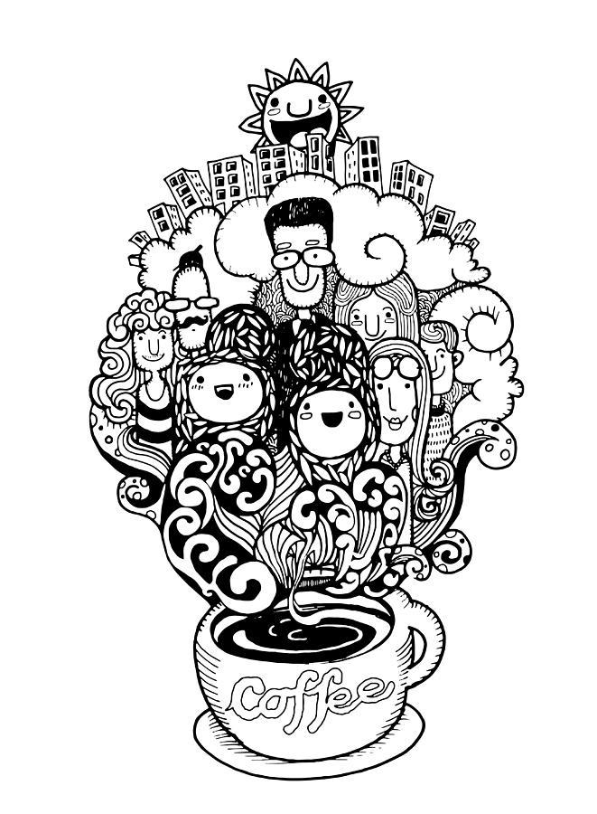 Hand Drawn Doodle Coffee Background Illustrator Line
