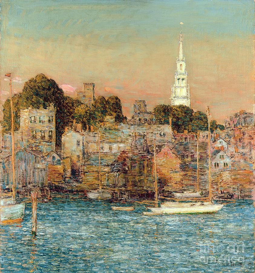 October Sundown Painting by Childe Hassam