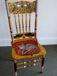 Painted Cat Chair Mixed Media by Andrea Ellwood