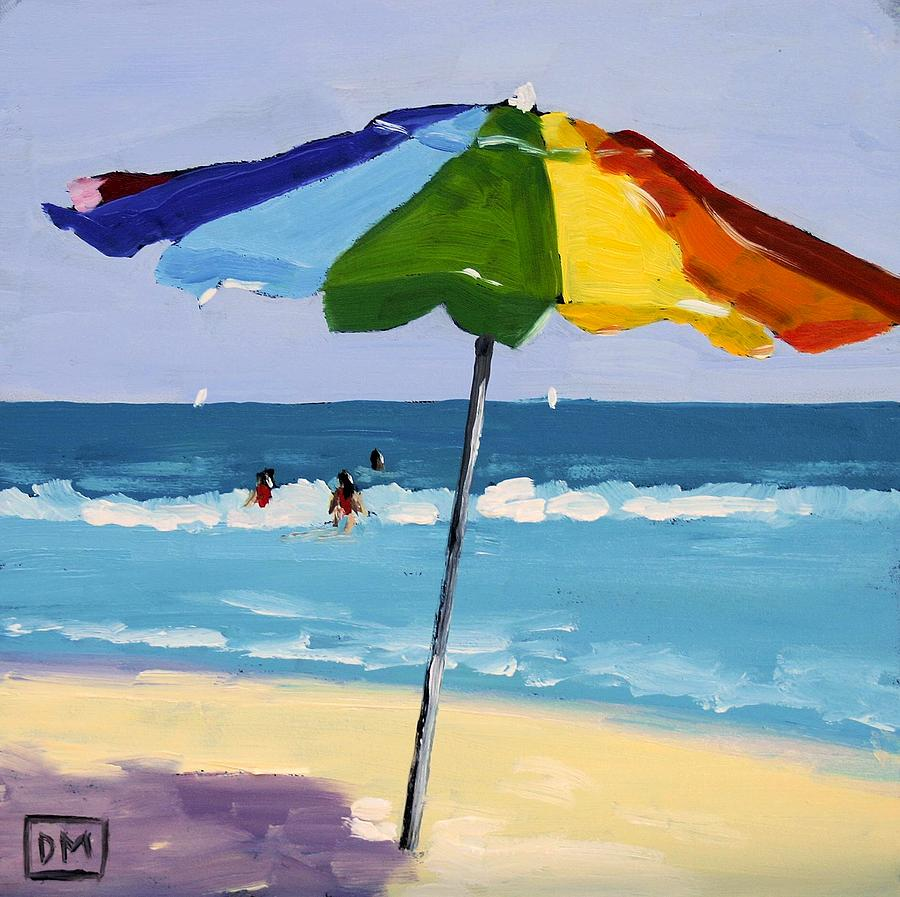 children s beach chair with umbrella wood and metal chairs a colorful spot painting by debbie miller