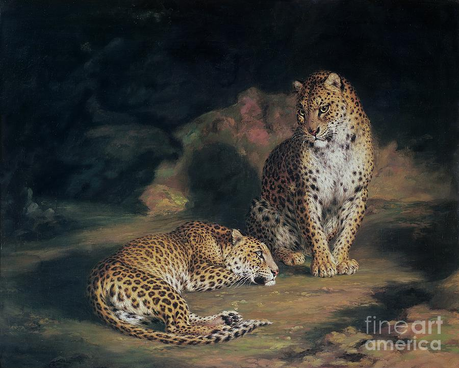 A Pair Of Leopards Painting By William Huggins
