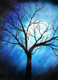 Abstract Tree On Blue Painting by Sabrina Zbasnik