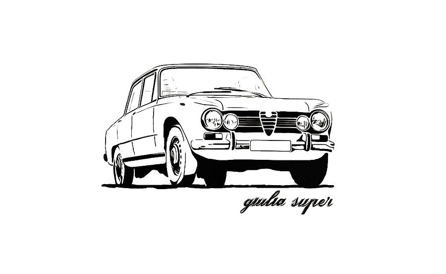 Alfa Romeo Giulia Super Drawing by Somin Lee