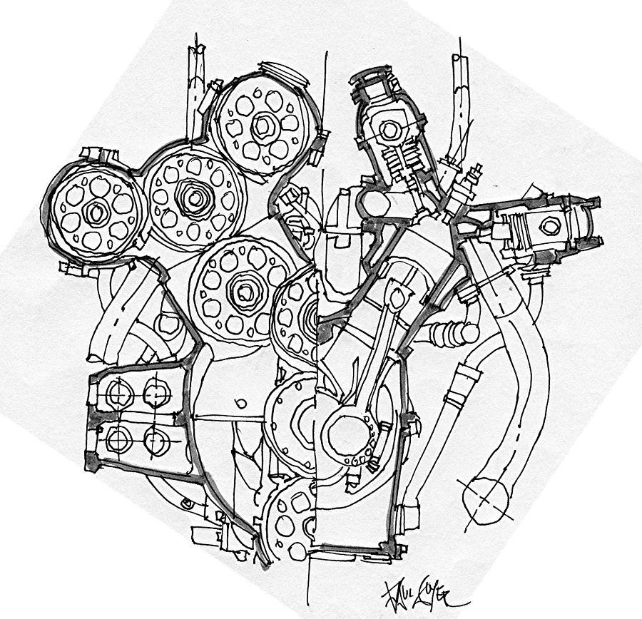 Alfa Romeo Grand Prix Engine Drawing by Paul Guyer