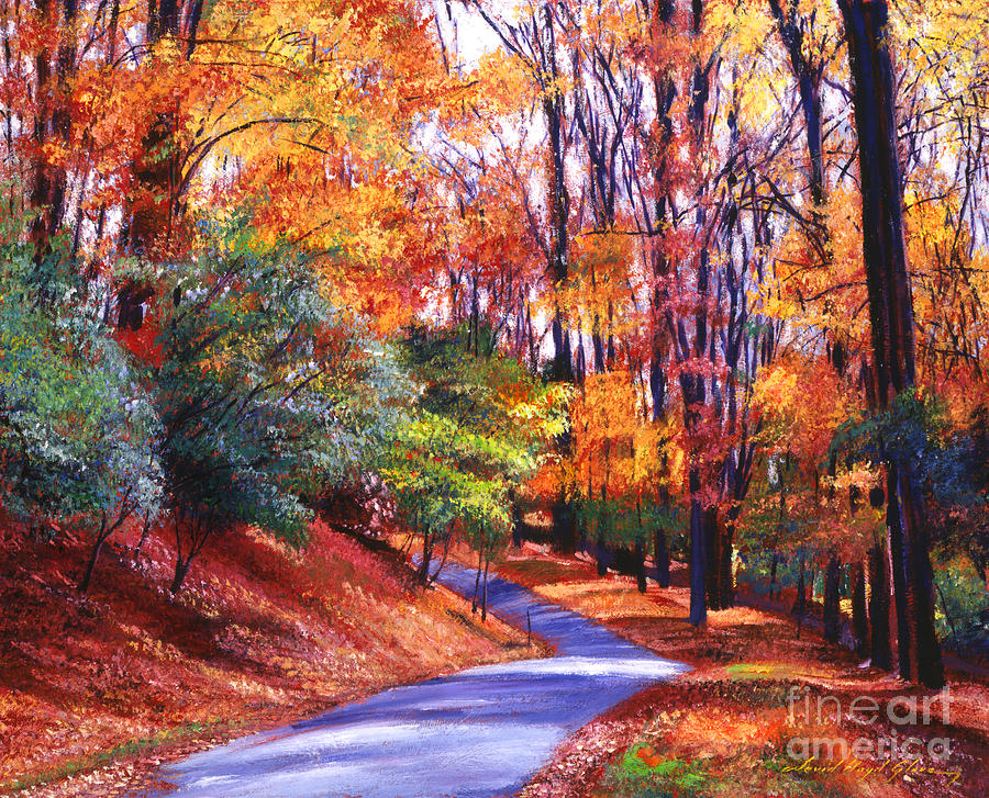 Fall In New England Wallpaper Along The Winding Road Painting By David Lloyd Glover