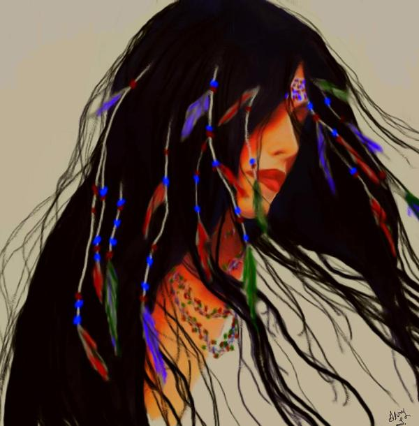 Native American Indian Woman Painting
