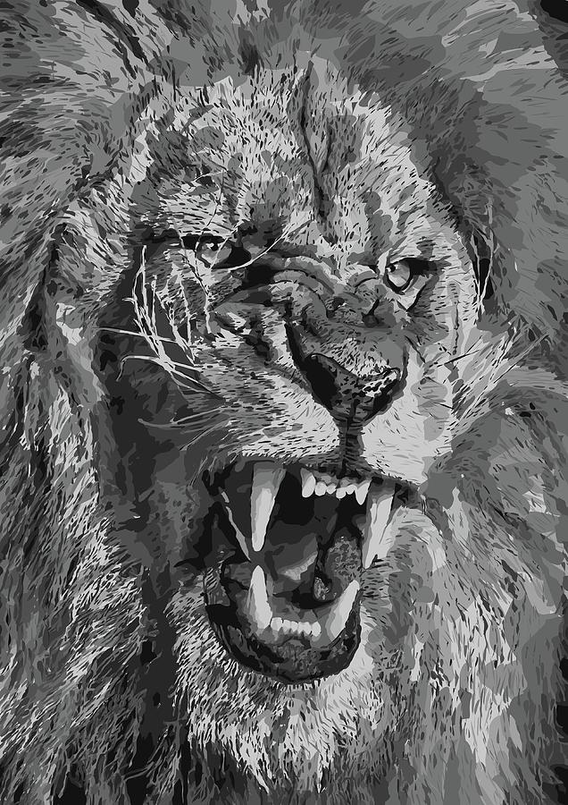 angry lion digital art