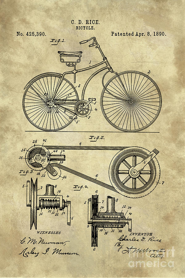 Antique Bicycle Blueprint Patent Drawing Plan Industrial