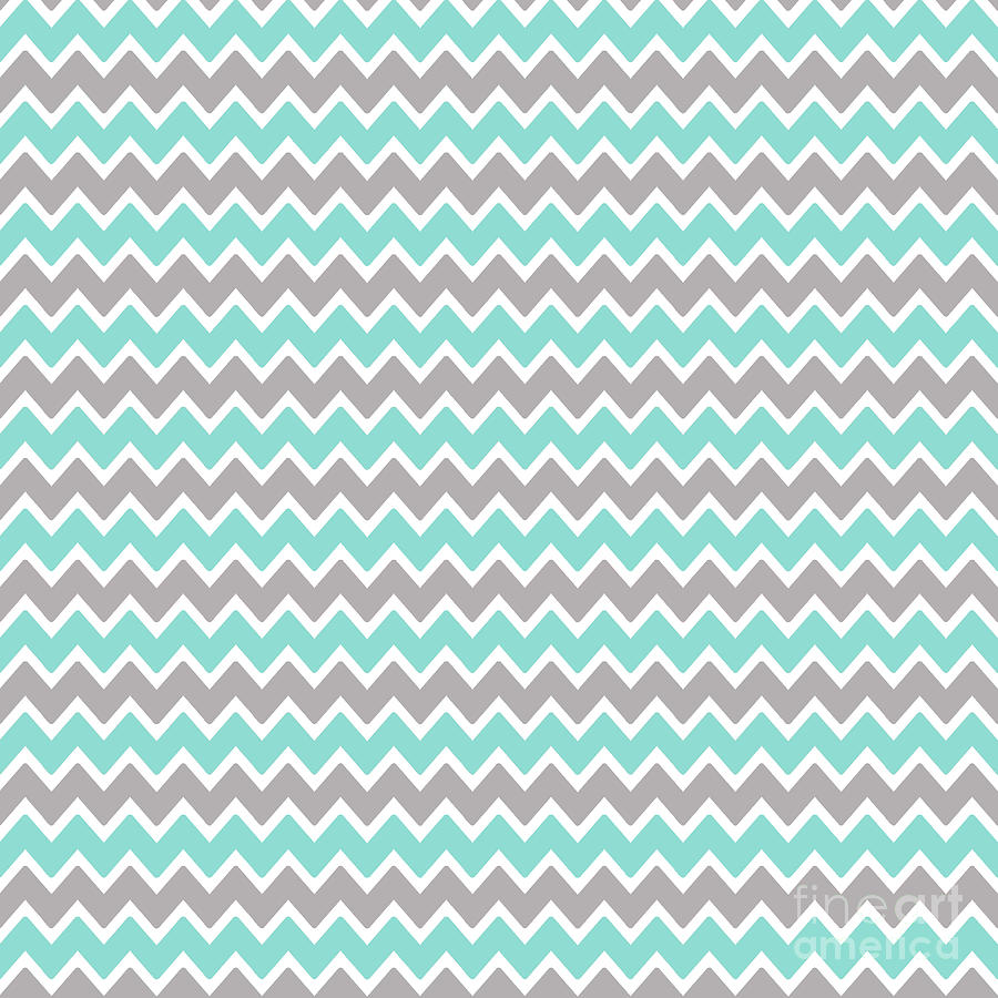 Aqua Turquoise Blue And Grey Gray Chevron Digital Art by