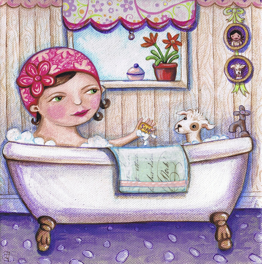 bath time for Boo Painting by Joanna Dover