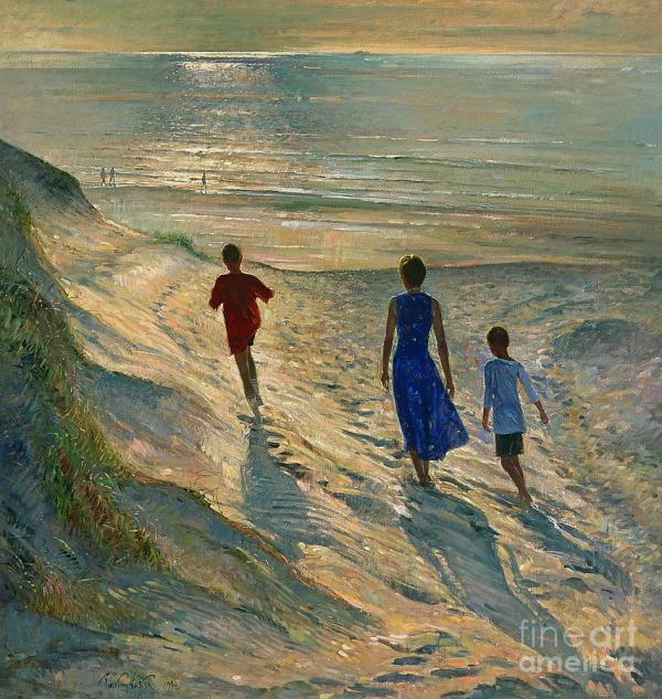 Beach Walk Painting Timothy Easton