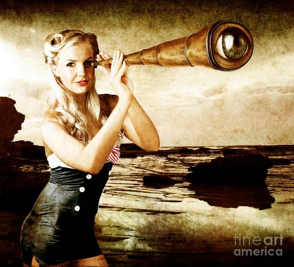Beautiful Vintage Woman With Steampunk Telescope