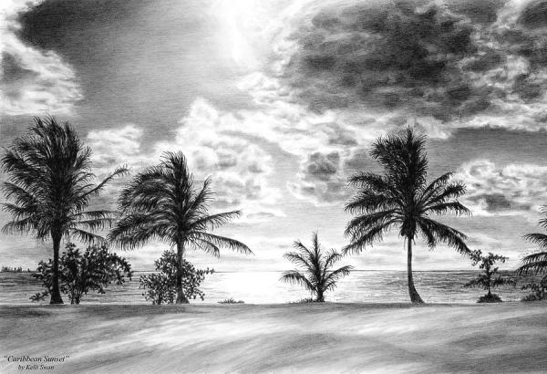 black and white caribbean sunset