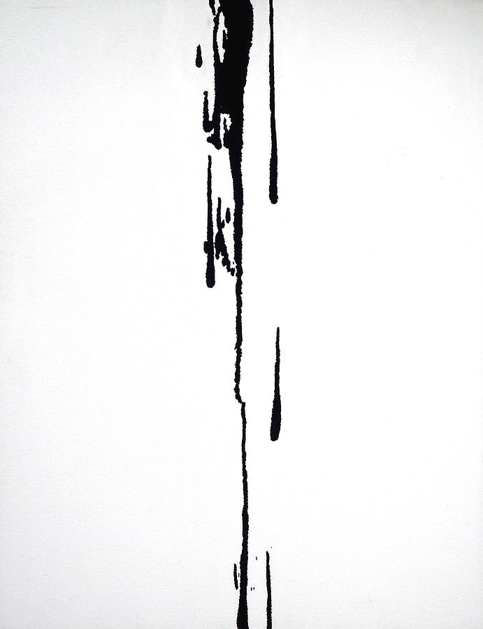 black drips on white