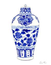 Blue And White Ginger Jar Chinoiserie Jar 1 Painting by ...