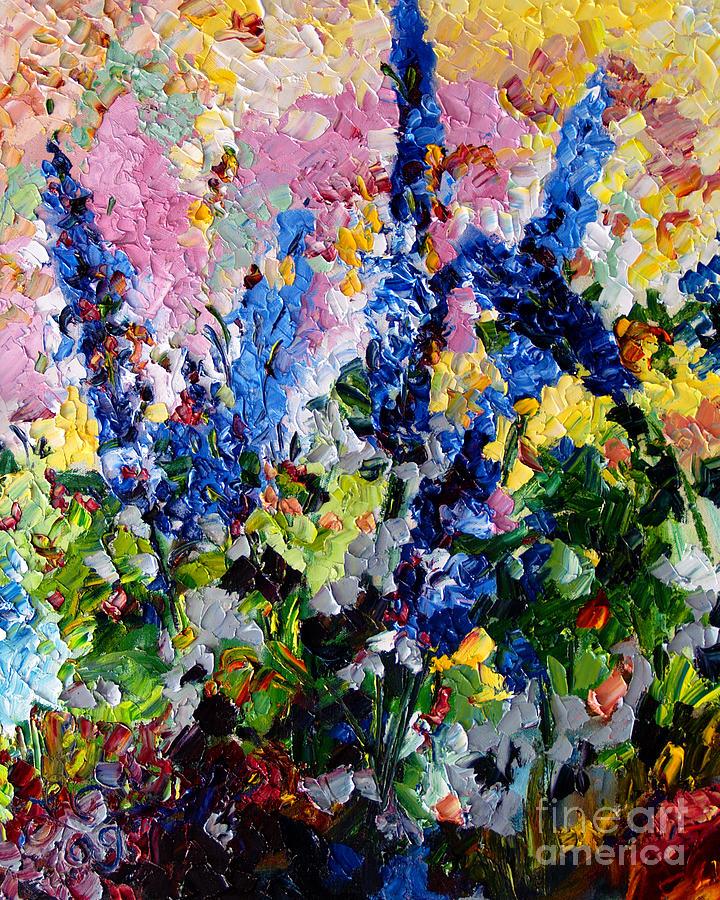 Impressionist Oil Painting : impressionist, painting, Delphiniums, Impressionist, Painting, Ginette, Callaway