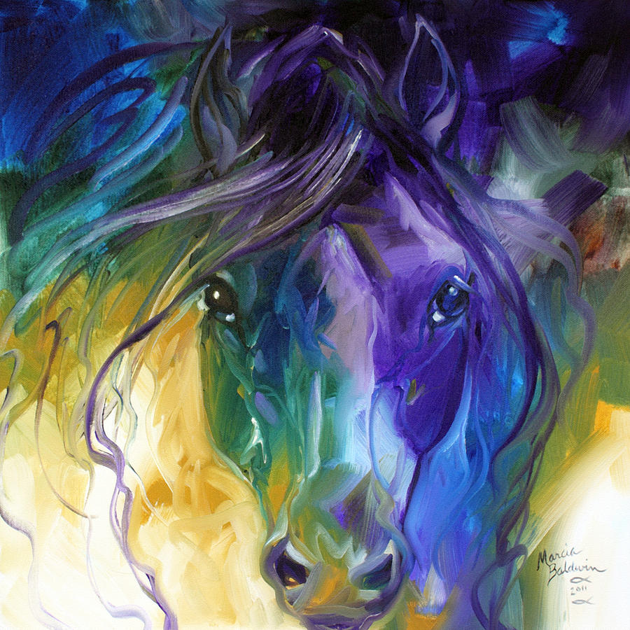 Blue Roan Abstract Painting By Marcia Baldwin
