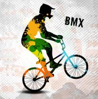 Bmx Rider In Abstract Paint Splatters Sq With Text Bmx