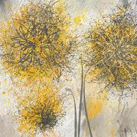 Brighter Blooms - Yellow And Gray Modern Artwork Painting ...