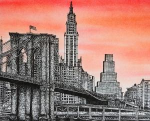 brooklyn bridge drawing dumont rob york skyline drawings nyc ink 11th uploaded june which