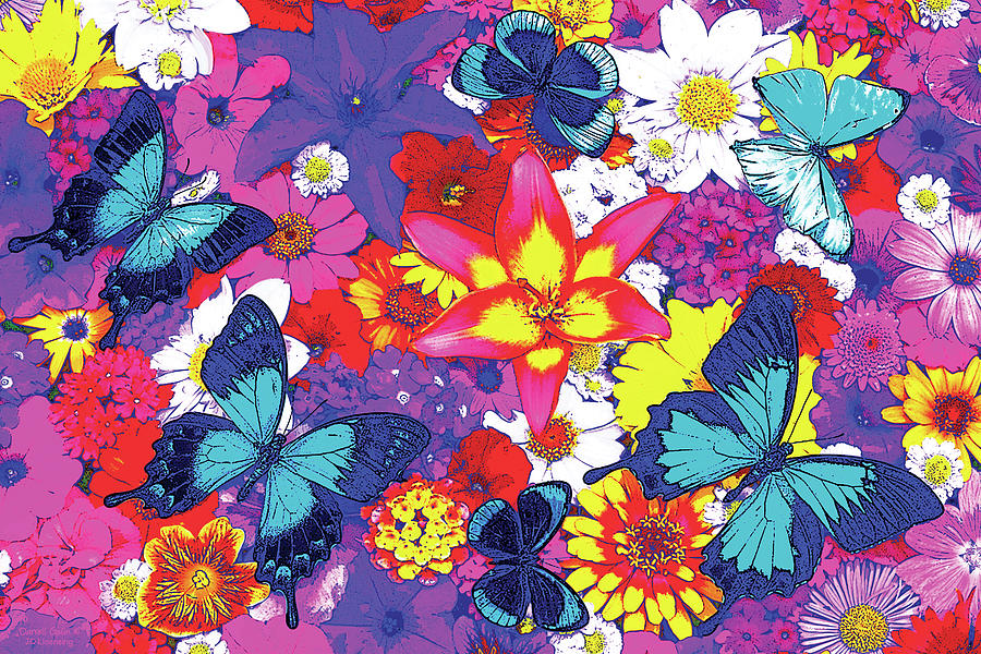 Butterflies And Flowers Painting By JQ Licensing