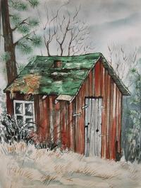 Cabin Shack Painting by Lynne Haines