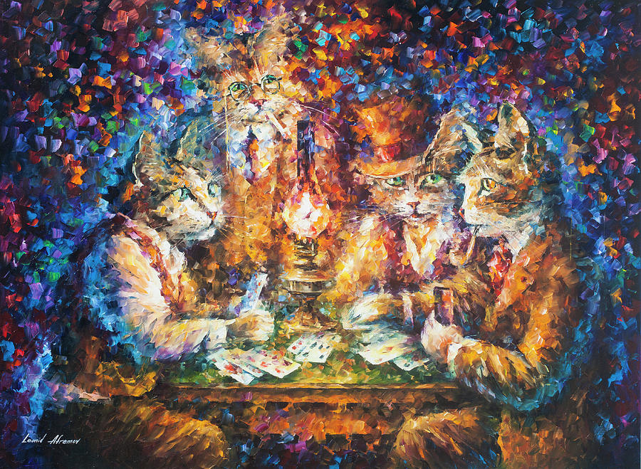 Cat Game Painting by Leonid Afremov