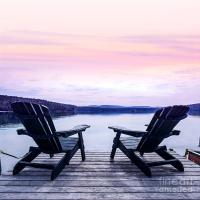 Chairs On Lake Dock Photograph by Elena Elisseeva