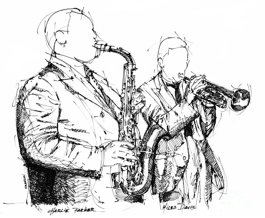 Charlie Parker Miles Davis Handmade Ink Drawing Drawing by