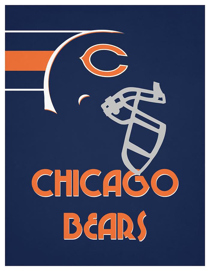 chicago bears team vintage art by joe hamilton