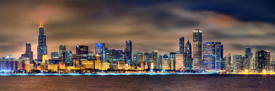 Chicago Skyline At Night Panorama Color 1 To 3 Ratio